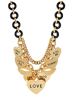 Betsey Johnson Multi Heart Charm Frontal Necklace