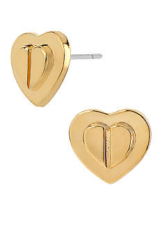Betsey Johnson Layered Heart Stud Earrings