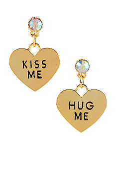 Betsey Johnson 'KISS ME' & 'HUG ME' Heart Drop Earrings