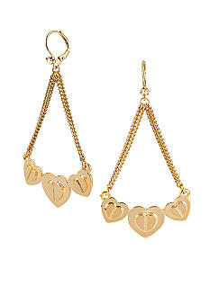 Betsey Johnson Three Heart Chandelier Earrings