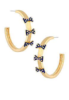 Betsey Johnson Polka Dot Bow Hoop Earrings