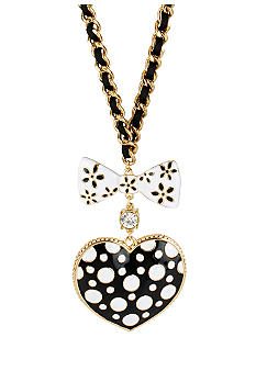 Betsey Johnson Polka Dot Heart Pendant Long Necklace