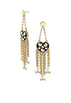 Betsey Johnson Heart Multi Chain Chandelier Earrings