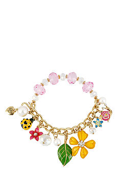 Betsey Johnson Flower & Bug Multi Charm Half Stretch Bracelet
