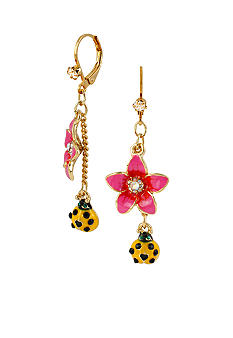 Betsey Johnson Flower & Bug Drop Earrings