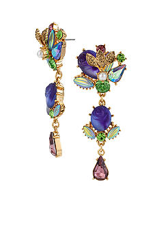 Betsey Johnson Carved Flower & Multi Gem Linear Earrings