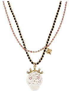 Betsey Johnson Lace Skull Pendant