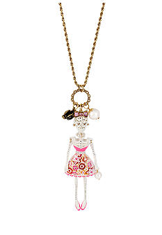 Betsey Johnson Lace Skull Girl Pendant Long Necklace