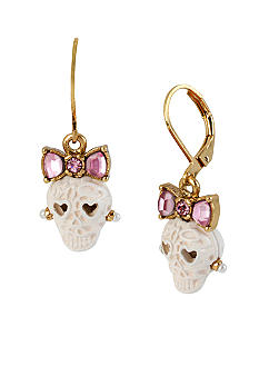 Betsey Johnson Lace Skull Drop Earrings