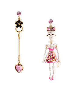 Betsey Johnson Lace Skull Girl Mismatch Earrings