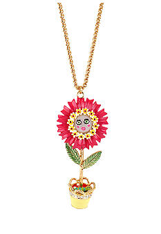 Betsey Johnson Flower Pot Moving Pendant Long Necklace