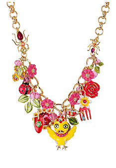 Betsey Johnson Chickadee & Flower Frontal Necklace