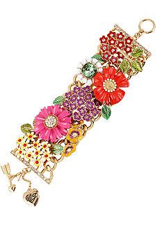 Betsey Johnson Flower Wide Toggle Bracelet