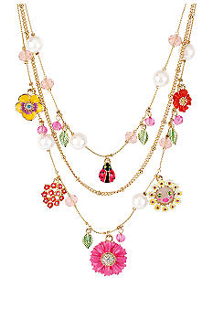 Betsey Johnson Flower & Ladybug Multi Charm Illusion Necklace