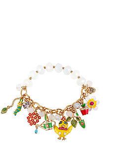 Betsey Johnson Chickadee Multi Charm Half Stretch Bracelet