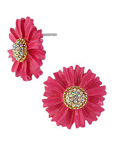 Betsey Johnson Pink Flower Stud Earrings