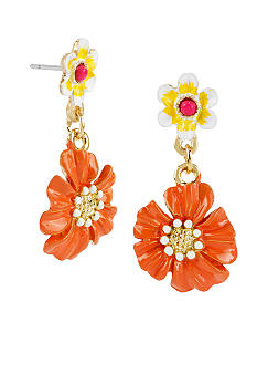 Betsey Johnson Orange Flower Drop Earrings