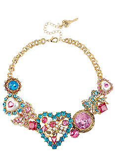Betsey Johnson Heart & Gem Frontal Necklace