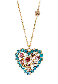 Betsey Johnson Crystal Heart Pendant Long Necklace