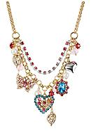 Betsey Johnson Crystal Heart & Butterfly Frontal Necklace