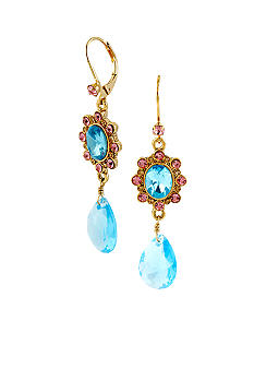 Betsey Johnson Crystal Gem Drop Earrings