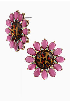 Betsey Johnson Leopard Flower Stud Earrings