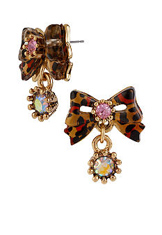 Betsey Johnson Leopard Bow Stud Earrings
