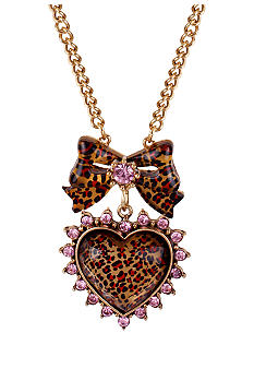 Betsey Johnson Leopard Heart & Bow Pendant Necklace