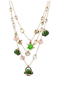 Betsey Johnson Frog Basket Multi Charm Illusion Necklace