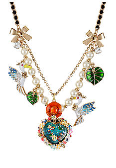 Betsey Johnson Fish Pond Heart & Pelican Frontal Necklace