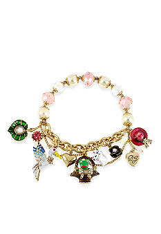 Betsey Johnson Frog Basket Multi Charm Half Stretch Bracelet