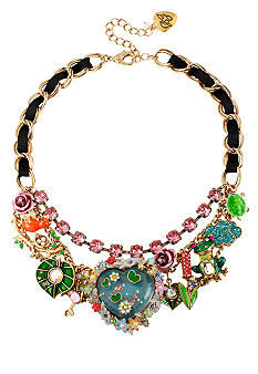 Betsey Johnson Fish Pond Heart Multi Charm Frontal Necklace