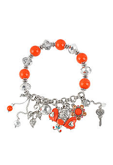 Betsey Johnson Crystal Bee Multi Charm Half Stretch Bracelet