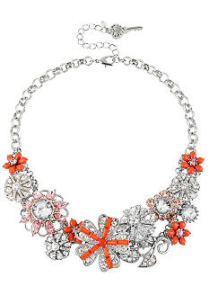 Betsey Johnson Flower & Gem Frontal Necklace