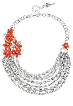 Betsey Johnson Flower Multi Chain Necklace