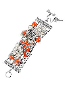 Betsey Johnson Flower & Gem Wide Toggle Bracelet
