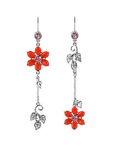 Betsey Johnson Flower & Leaves Mismatch Earrings