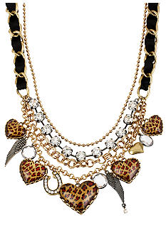 Betsey Johnson Leopard Heart Frontal Necklace