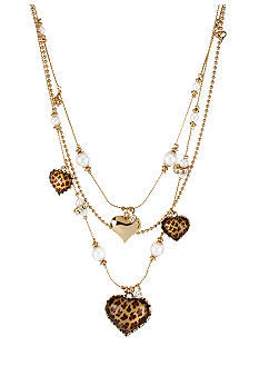 Betsey Johnson Leopard Heart Illusion Necklace