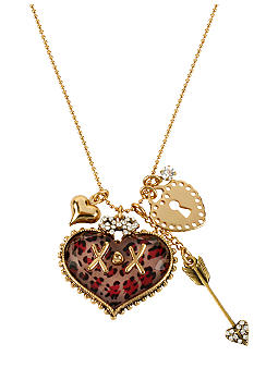 Betsey Johnson Pink Leopard Heart Pendant Necklace