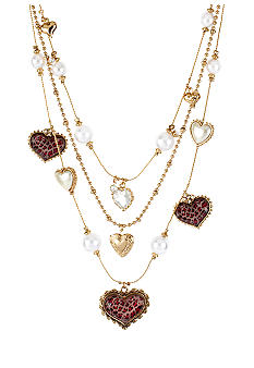 Betsey Johnson Pink Leopard Heart Illusion Necklace