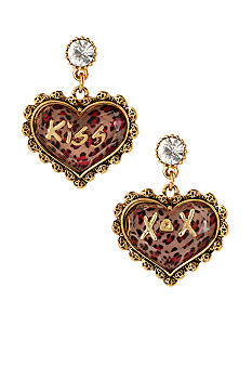 Betsey Johnson Pink Leopard Heart Drop Earrings