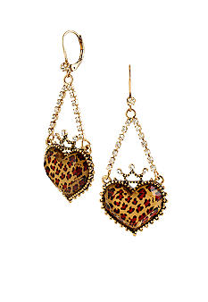 Betsey Johnson Leopard Heart Chandelier Earrings