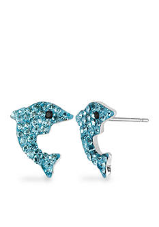 Betsey Johnson Pave Dolphin Stud Earring