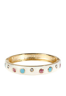 Betsey Johnson Polka Dot Hinged Bangle Bracelet