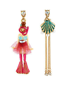Betsey Johnson Scuba Girl & Sea Shell Mismatch Earrings