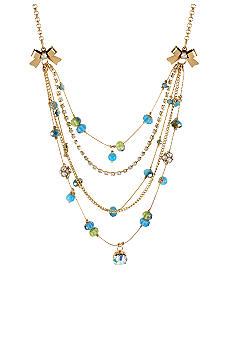 Betsey Johnson Blue Faceted Bead Illusion Necklace