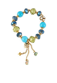 Betsey Johnson Blue Bead Stretch Bracelet