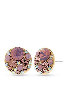 Betsey Johnson Pink Faceted Bead Round Stud Earrings