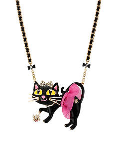 Betsey Johnson Tutu Cat Pendant Necklace